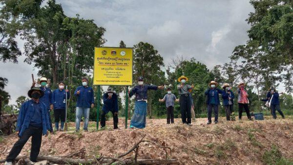 """พช.โคราช จัดกิจกรรมเอามื้อสามัคคี """"โคก หนอง นา พัฒนาชุมชน"""" อำเภอชุมพวง หนุนครัวเรือนเพิ่มพื้นที่ปลูกพืชสมุนไพรไทยต้านโรคติดเชื้อ"""